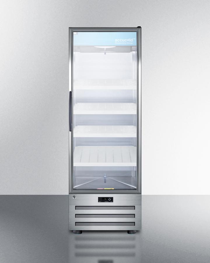 Summit14 Cu.Ft. Pharmaceutical All-Refrigerator With A Glass Door, Lock, Digital Thermostat, And A Stainless Steel Interior And Exterior Cabinet