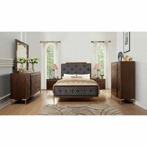 ACME Eschenbach Eastern King Bed - 25957EK - Charcoal Fabric & Cherry
