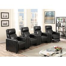 Arcadia Black Push-Back 4-Piece Reclining Theater Set