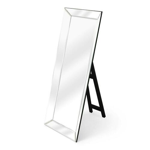 This dramatic mirror framed in mirror with a simple black easel stand is bound to add glamour to the boudoir or any other dressing space. Crafted from select wood solids and wood products, it features clear beveled edge mirrored glass. Smile when you get up close... your bound to like what you see!