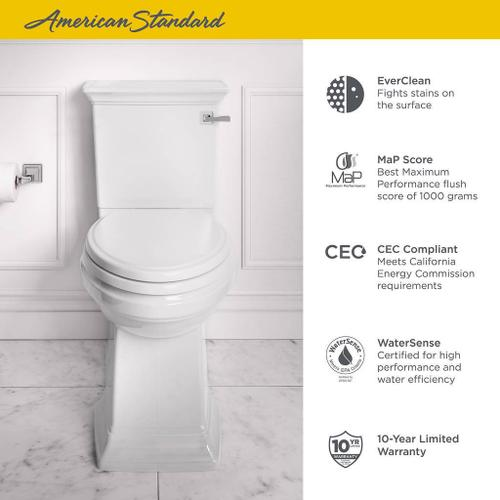 American Standard - Town Square S Right Height Elongated Toilet with Seat - Right Hand Trip Lever  American Standard - White