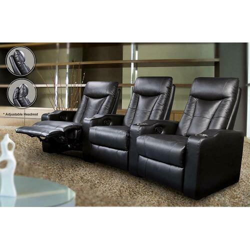Coaster - Pavillion Black Leather Four-seated Recliner