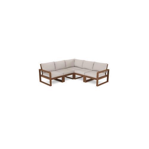 Polywood Furnishings - EDGE 5-Piece Modular Deep Seating Set in Teak / Dune Burlap
