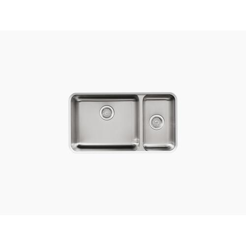 "31-1/2"" X 18"" X 9-3/4"" Undermount High/low Double-bowl Kitchen Sink"