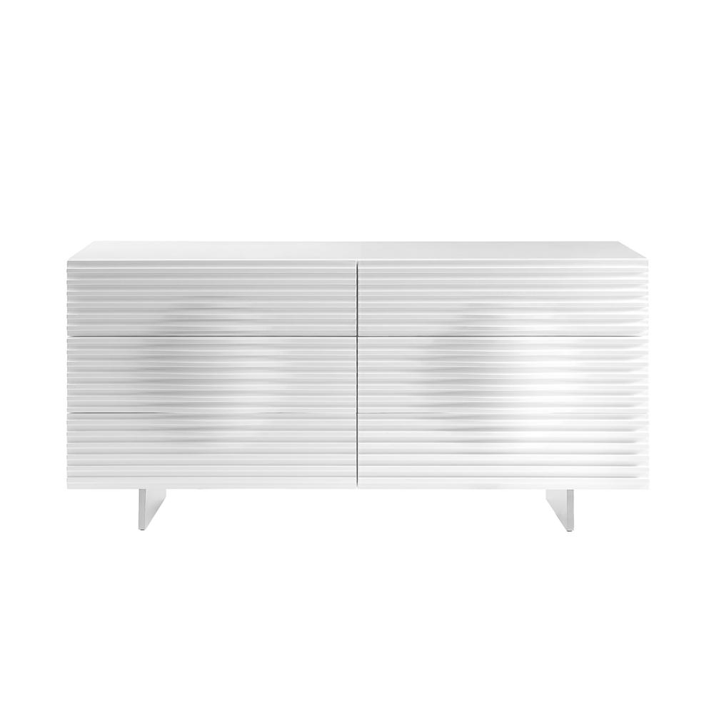 The Moon Dresser In High Gloss White Lacquer With Brushed Stainless Steel