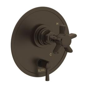 San Giovanni Pressure Balance Trim with Diverter - Tuscan Brass with Five Spoke Cross Handle