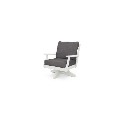 Braxton Deep Seating Swivel Chair in Vintage White / Ash Charcoal