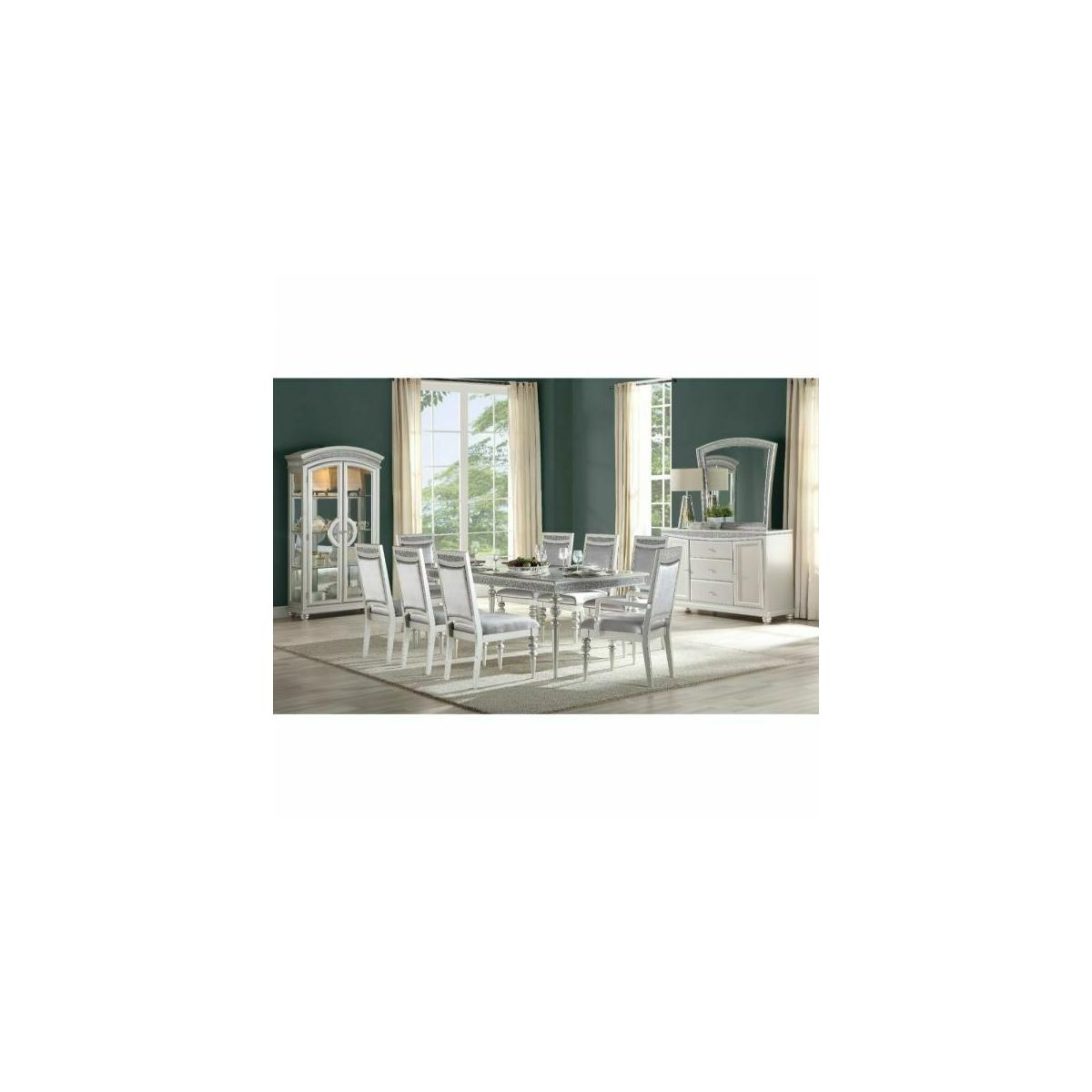 ACME Maverick Dining Table - 61800 - Platinum