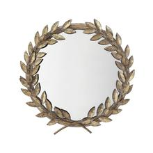 """See Details - 17-3/4""""L x 18-1/2""""H Metal Laurel Wreath Wall Mirror, Antique Gold Finish"""