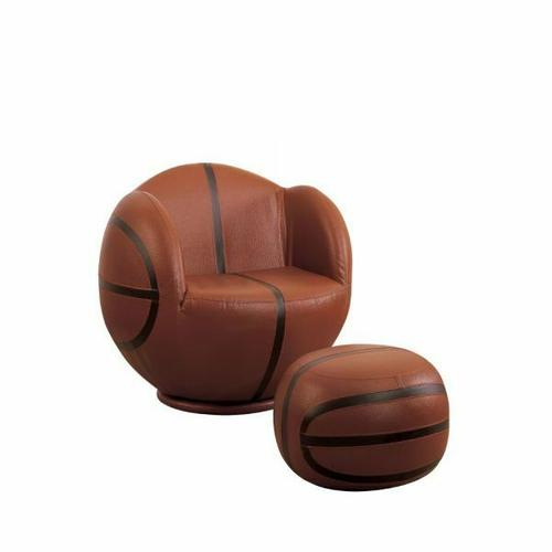 ACME All Star 2Pc Pack Chair & Ottoman - 05527 - Basketball: Brown & Black