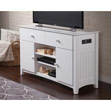 See Details - Nantucket 2 Drawer 50 inch Entertainment Console 30x50 with Adjustable Shelves and Charging Station in White