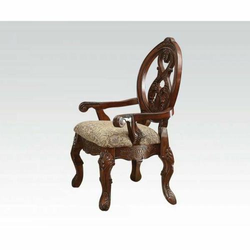 Acme Furniture Inc - ACME Rovledo Arm Chair (Set-2) - 60803 - Fabric & Cherry