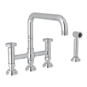 Campo Deck Mount U-Spout 3 Leg Bridge Faucet with Sidespray - Polished Chrome with Industrial Metal Wheel Handle