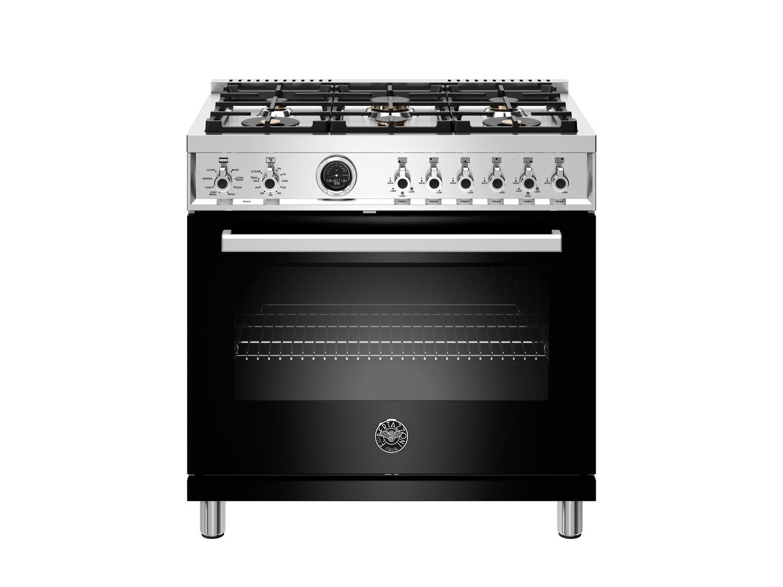 Bertazzoni36 Inch Dual Fuel Range, 6 Brass Burner, Electric Self-Clean Oven Nero