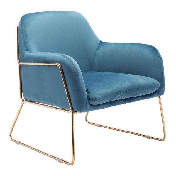 Nadir Arm Chair Blue & Gold