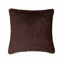 Fun Fur Long Hair Cushion - Chocolate