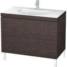 Furniture Washbasin C-bonded With Vanity Floorstanding, Brushed Dark Oak (real Wood Veneer)