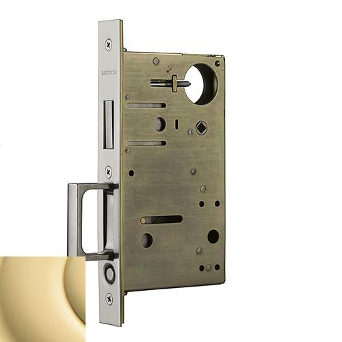 Non-Lacquered Brass 8602 Pocket Door Lock with Pull