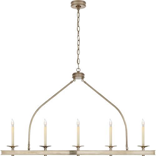 Visual Comfort - E. F. Chapman Launceton 5 Light 52 inch Antique Nickel Linear Pendant Ceiling Light, Large