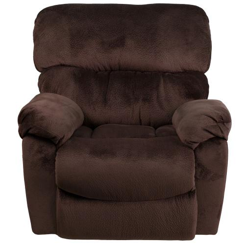 Alamont Furniture - Contemporary Sharpei Chocolate Microfiber Power Recliner with Push Button