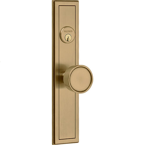 Satin Brass and Brown Hollywood Hills Knob Entrance Trim