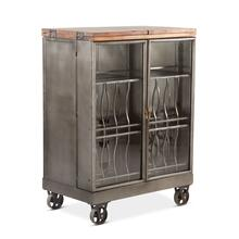 Pittsburg Metal Bar Cabinet with Extendable Wood Top