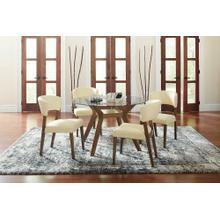Paxton Mid-century Modern Nutmeg Glass Dining Table