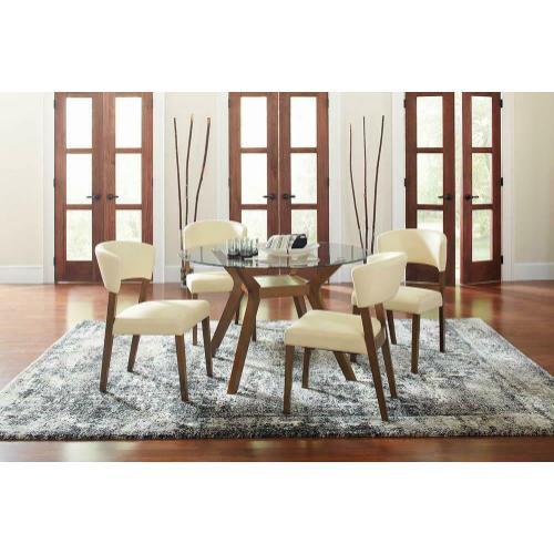 Paxton Mid-century Modern Nutmeg Glass Dining Table