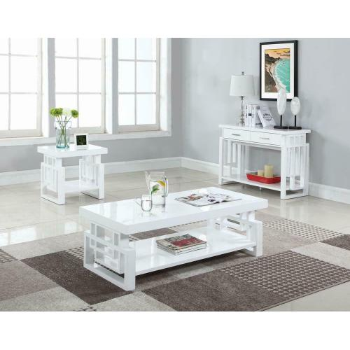Product Image - Transitional Glossy White End Table