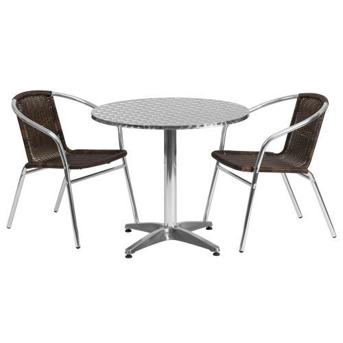 31.5'' Round Aluminum Indoor-Outdoor Table Set with 2 Dark Brown Rattan Chairs