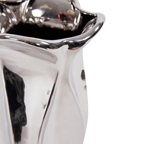 Howard Elliott - Exaggerated Wave Design Silver Ceramic Vase, Small