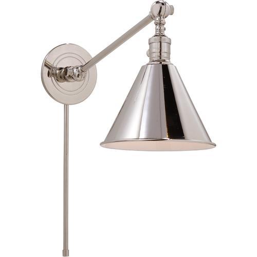 E. F. Chapman Boston 18 inch 60.00 watt Polished Nickel Single Arm Library Light Wall Light