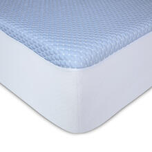 See Details - Sleep Chill + Crystal Gel Mattress Protector with Cooling Fibers and Blue 3-D Fabric, Queen