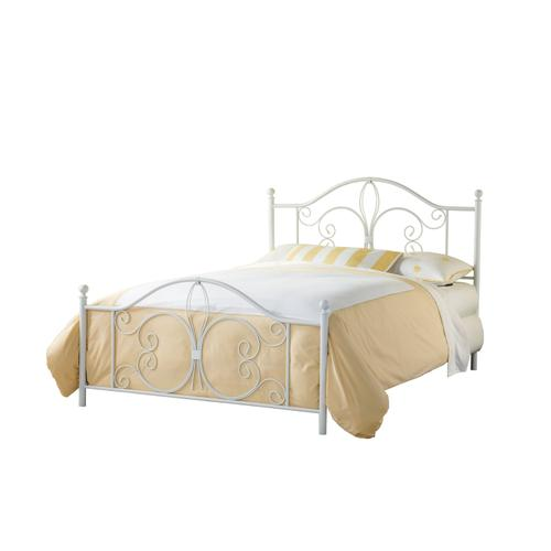 Ruby Queen Metal Bed, Textured White
