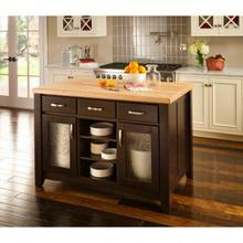 "52-1/2"" Black Contemporary Furniture Style Kitchen Island"