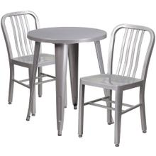 24'' Round Silver Metal Indoor-Outdoor Table Set with 2 Vertical Slat Back Chairs