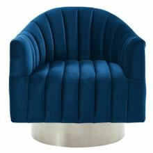 See Details - Cortina Swivel Accent Chair in Blue/Silver