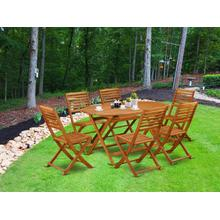 This 7 Pc Acacia Courtyard Dining Sets includes a single Outdoor-Furniture table and 6 foldable chairs