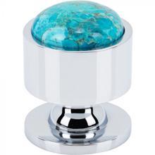 View Product - FireSky Mohave Turquoise Knob 1 1/8 Inch Polished Chrome Base Polished Chrome
