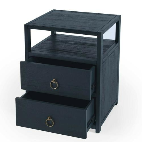 Butler Specialty Company - The minimalist design of this stylish nightstand makes it an ideal addition in any contemporary space. Crafted from acacia or pine wood solids and engineered wood products, it features two drawers with ring pulls, for a hint of glam, and ball bearing glides for easy opening and closing. Just beneath the top is an open shelf for keeping essentials organized and within reach, and it is a great spot to charge a phone or other device. It is suitable for use as an end table, and is available in white, navy, and a natural wire brush finishes.