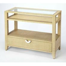 See Details - Add coastal ambiance to any space with this raffia-clad console table. Providing convenient storage and stylish contemporary lines, it boasts a cream finish on all sides, a storage drawer with a silver finished crescent drawer pull, a tempered glass top, and shelves for storing books or displaying photos or other keepsakes.