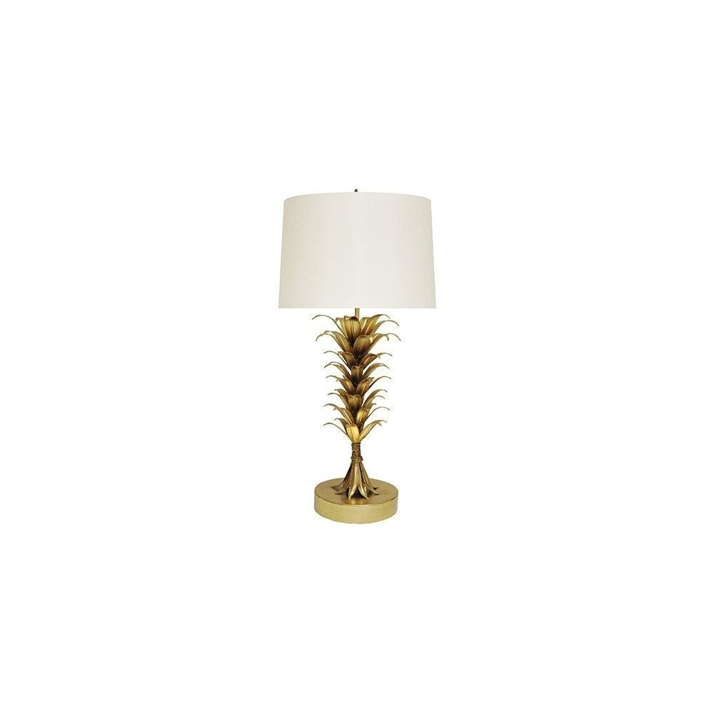 With A Design as Dramatic as Its Namesake Island Landscape, Our Capri Lamp Is A Perfect Complement To Your Luxe Coastal Style. Hand Finished With an Array of Gold Leaf Palm Leaves and Topped With A Crisp White Shade.
