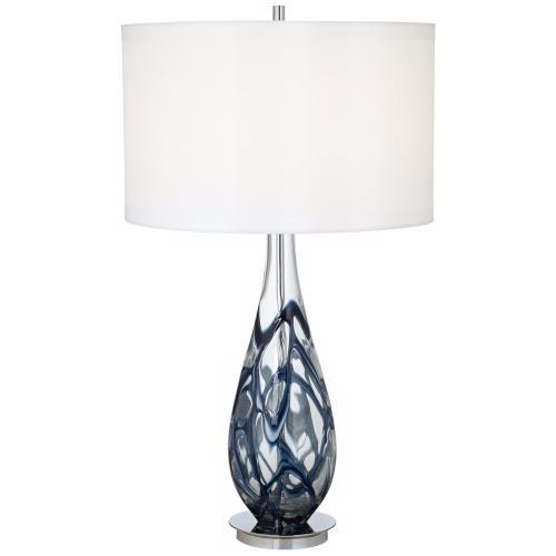 Pacific Coast Lighting - Indigo Swirl Art Glass Table Lamp (87-6910-23)