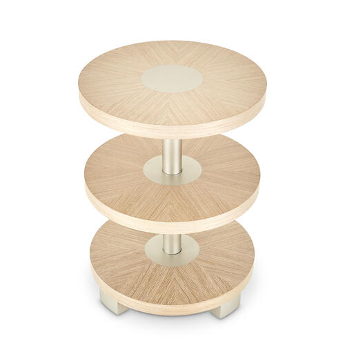 Round Chairside Table Washed Oak