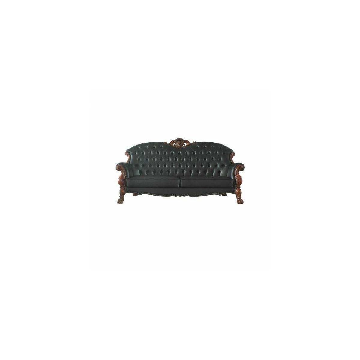 ACME Dresden Sofa w/5 Pillows - 58230 - Traditional, Vintage - PU, Frame: Wood (Poplar, Ply), Poly-Resin (Fiberglass) - Cherry Oak and PU