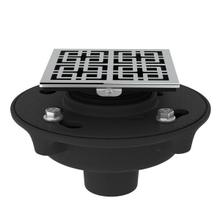See Details - Cast Iron 2 Inch No Hub Drain Kit with 3142 Weave Decorative Cover - Polished Chrome