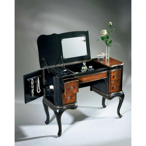 Butler Specialty Company - Hand painted finish on selected hardwoods and wood products. Choice cherry veneer on top, front apron and drawer fronts. Side doors open for jewelry storage. Top sides open to reveal felt lined sections. Top center with mirror opens to reveal felt lined compartment. Four felt lined drawers with antique brass finished hardware.