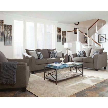 Salizar Transitional Grey Three-piece Living Room Set