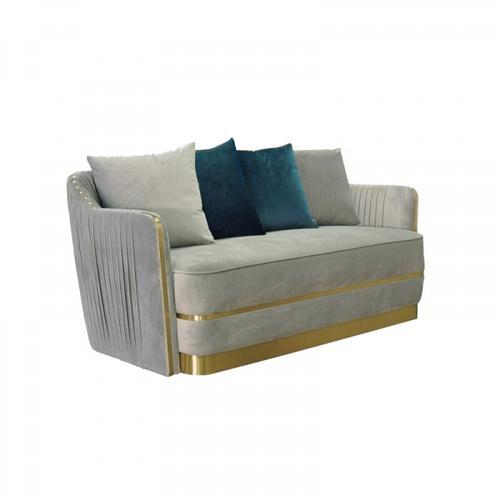 VIG Furniture - Divani Casa Ardine Modern Grey Velvet & Gold Loveseat Sofa