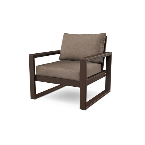 Mahogany & Spiced Burlap EDGE Club Chair